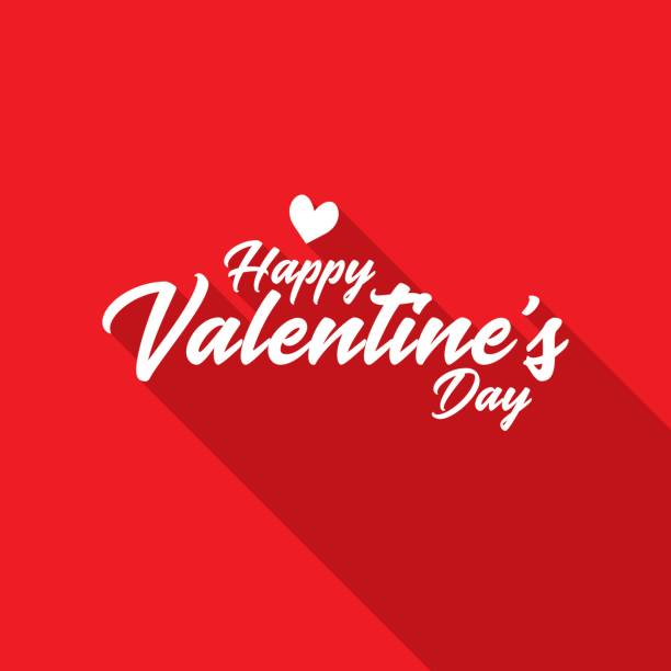 happy valentine's day hand lettering with long shadow - valentine's day holiday stock illustrations
