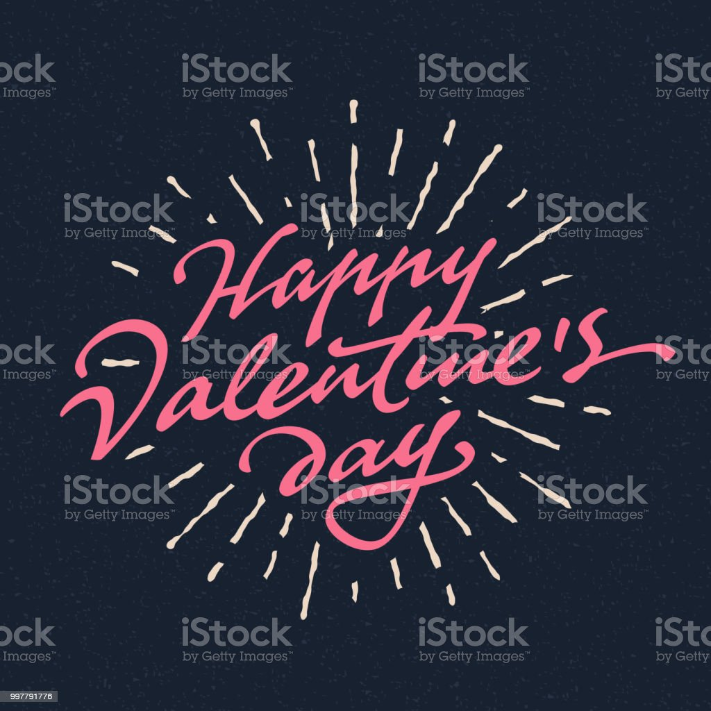 \'Happy Valentine\'s Day\' hand drawn brush script lettering typographic...