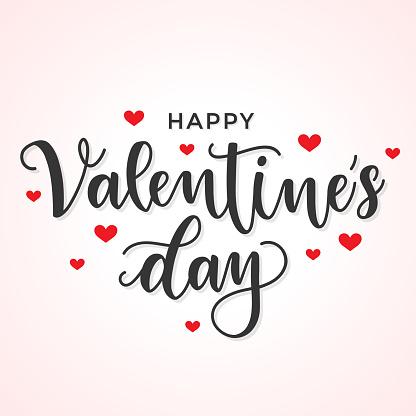 Happy Valentine's Day. Handwritten calligraphic lettering