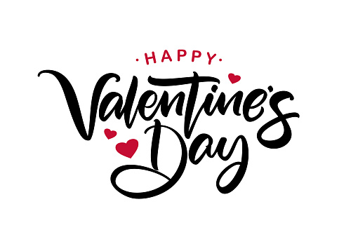 Happy Valentine's Day. Handwritten calligraphic lettering with red hearts.