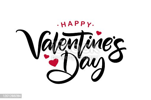Vector illustration: Happy Valentine's Day. Handwritten calligraphic lettering with red hearts.