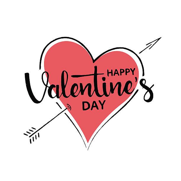 Happy Valentine's Day handwritten lettering ベクターアートイラスト