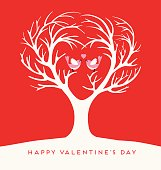 Happy Valentines Day heart shaped tree with lovebirds