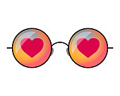 Happy Valentine`s Day. Hipster sunglasses vector illustration with heart.