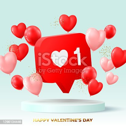 istock Happy Valentine's Day holiday card 1296134446