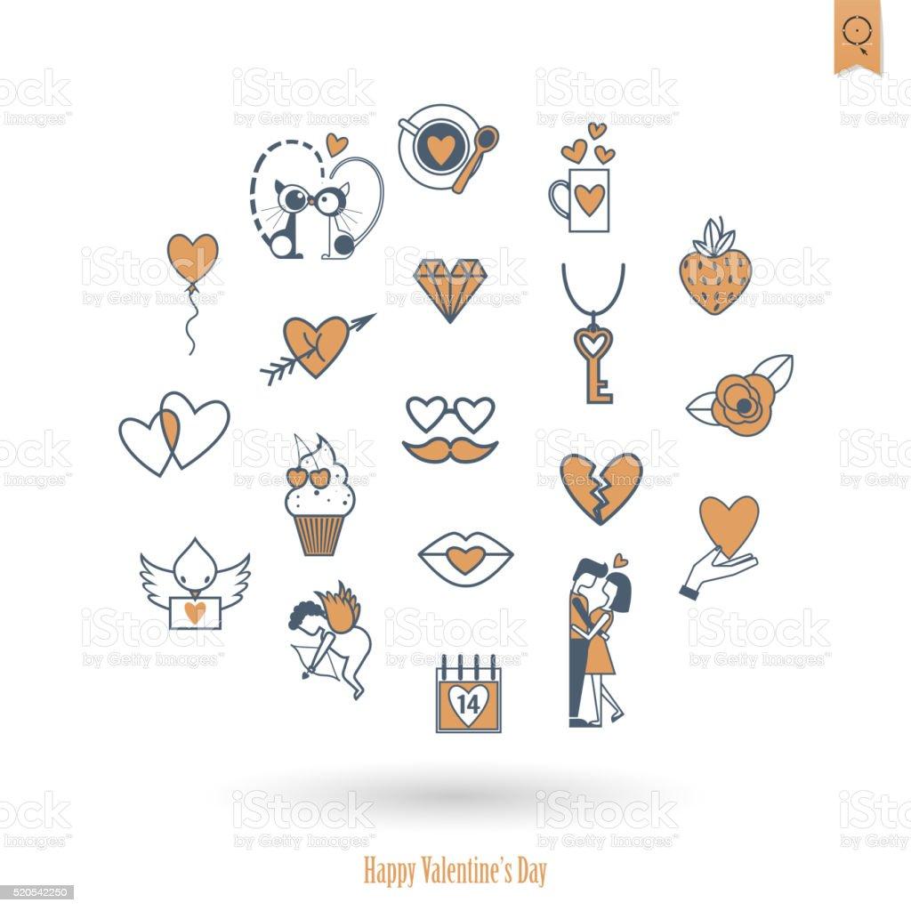 Happy Valentines Day Icons Royalty Free Happy Valentines Day Icons Stock Vector Art