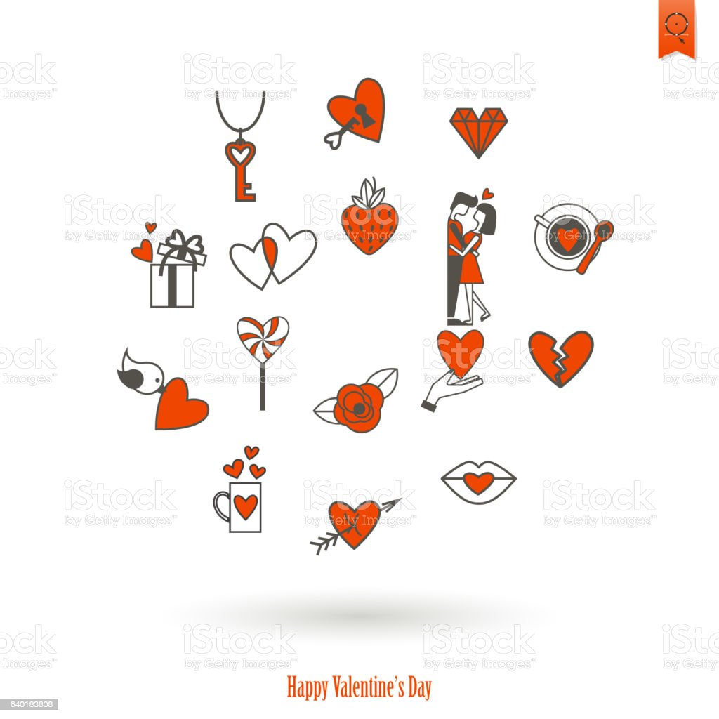 Happy Valentines Day Icons Stock Vector Art More Images Of