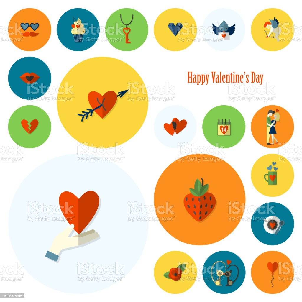 Happy Valentines Day Icons Stock Vector Art More Images Of Arrow