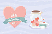 happy valentines day jar with hearts coffee cup vector illustration