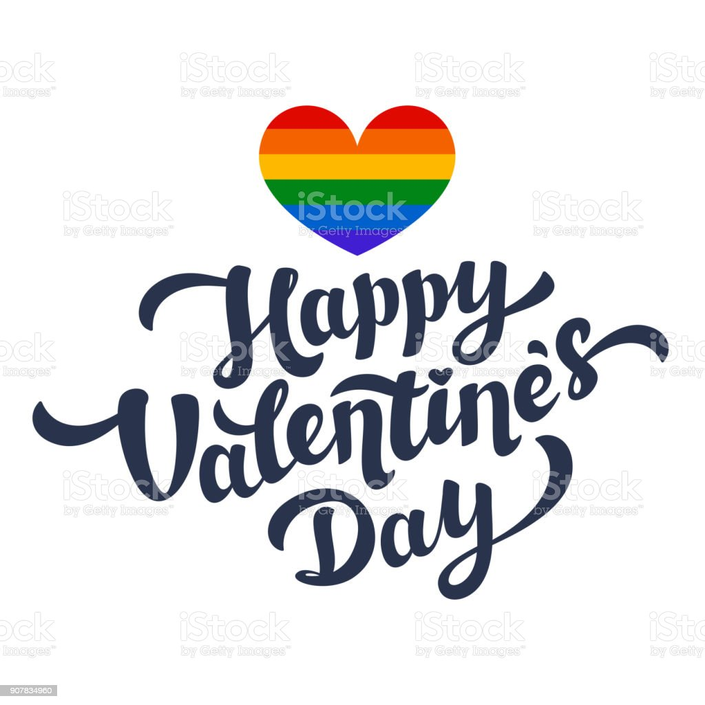 Happy Valentines Day Lettering And Rainbow Heart Lgbt Community