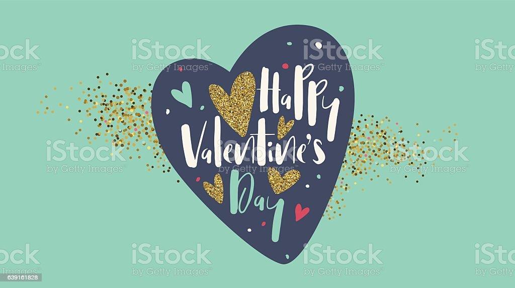 Happy Valentines day lettering banner vector art illustration