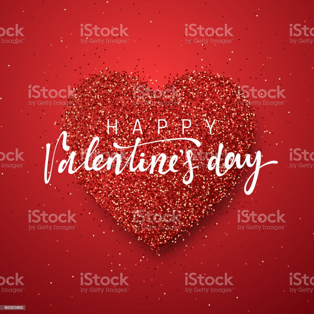 Happy valentines day lettering greeting card on red bright heart happy valentines day lettering greeting card on red bright heart background royalty free happy kristyandbryce Gallery