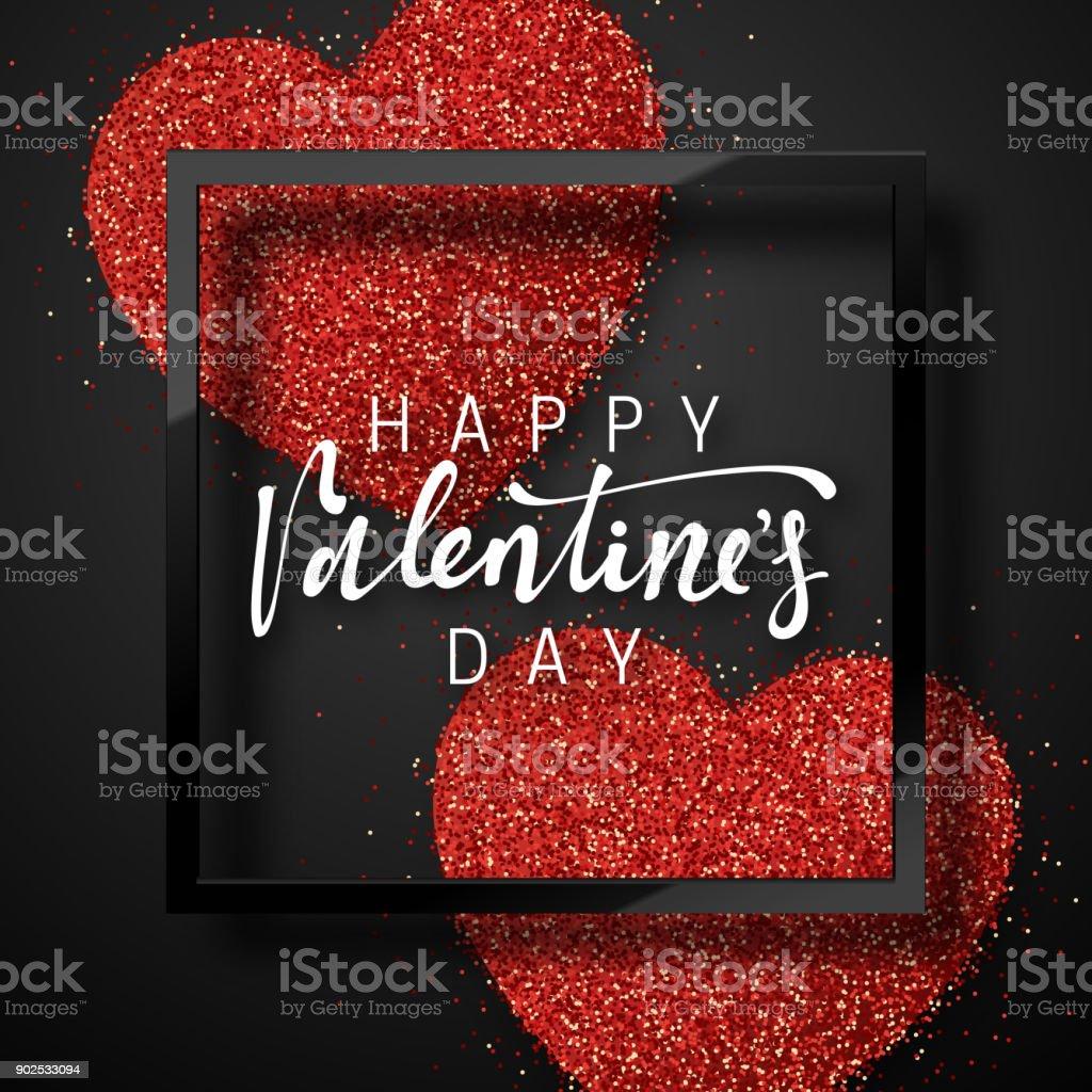 赤の明るい心の背景に幸せなバレンタインデー レタリング グリーティング カード ベクターアートイラスト