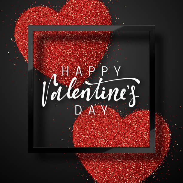 happy valentines day lettering greeting card on red bright heart background. - valentine card stock illustrations