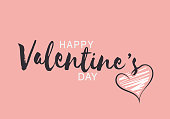 Happy Valentines Day lettering typography on pink background. Vector illustration. EPS10
