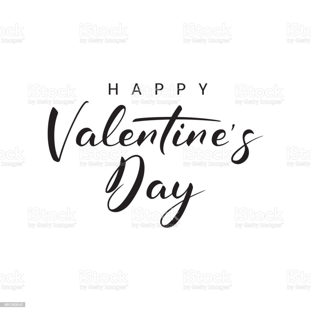 Happy Valentines Day Lettering Stock Vector Art More Images Of