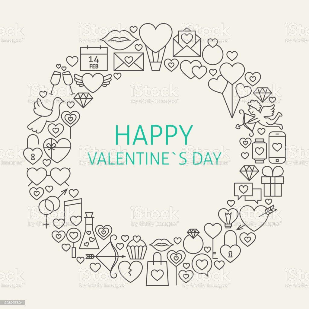 Happy Valentine's Day Line Art Icons Set Circle vector art illustration