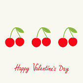 Happy Valentines Day. Love card. Cherries with green leaf in a row. Tasty food. White background. Vector illustration