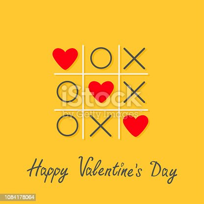 Happy Valentines Day. Love card. Tic tac toe game with cross and three red heart sign mark Flat design Yellow background. Vector illustration