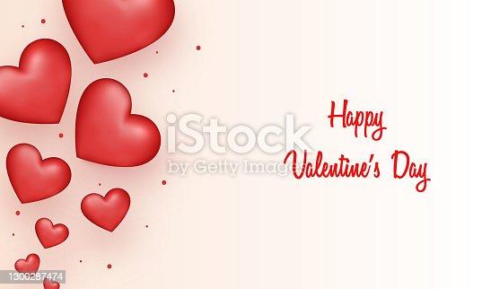 istock Happy Valentines Day love hearts banner stock illustration 1300287474