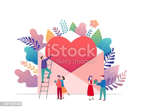 Happy Valentines day, love letter concept. Big envelope with red heart and small people, romantic background, banner design template