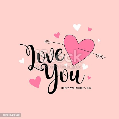 Happy Valentine's Day Love you message pink and white heart design background, vector illustration