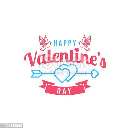 istock Happy Valentines day modern flat design style. 1201669983