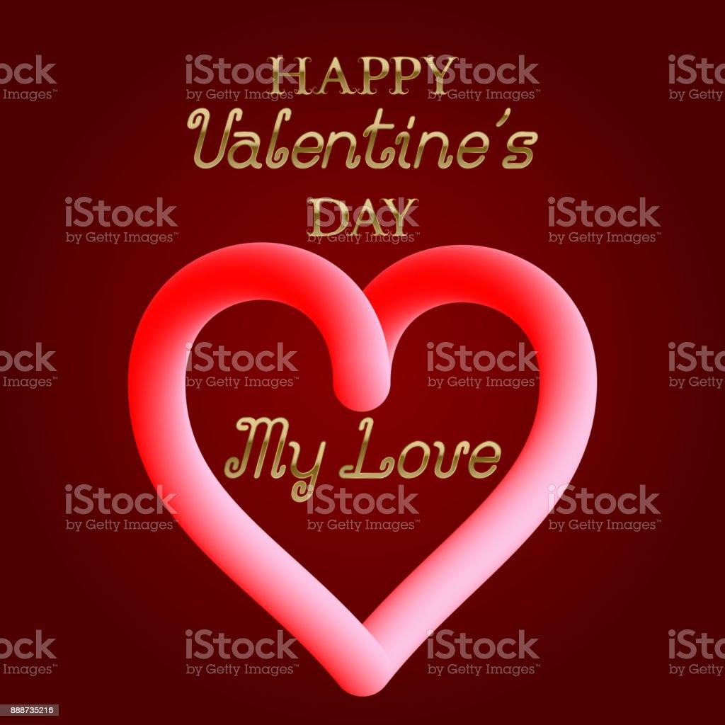 Ilustración de Feliz Día De San Valentín Mi Amor Dorado Texto Y ...