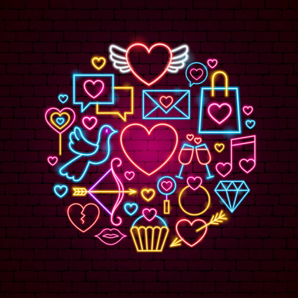 happy valentines day neon concept - kiss stock illustrations