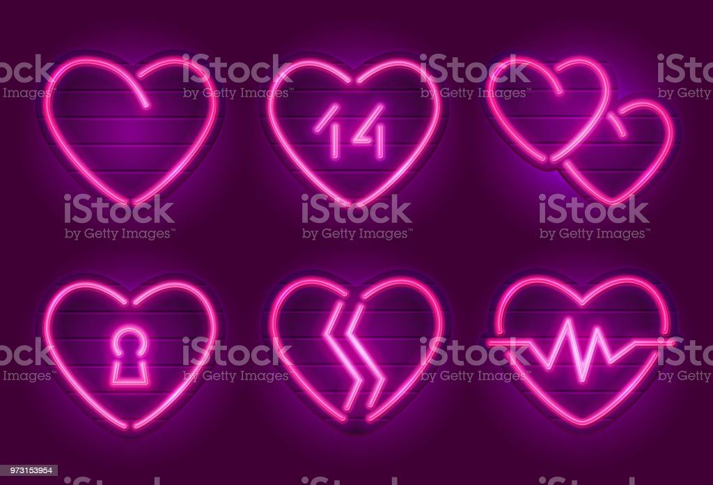Happy Valentines Day Neon Heart Signs Stock Vector Art More Images