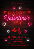 Happy Valentine's Day neon party flyer. Color card design with 3d glowing neon letters and hearts. Vector illustration with light banner. Invitation to nightclub.
