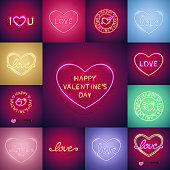 Happy Valentines Day neon signs set makes it quick and easy to customize your romance holiday projects. Each of object is named and placed in a symbol panel. Used neon vector brushes included.