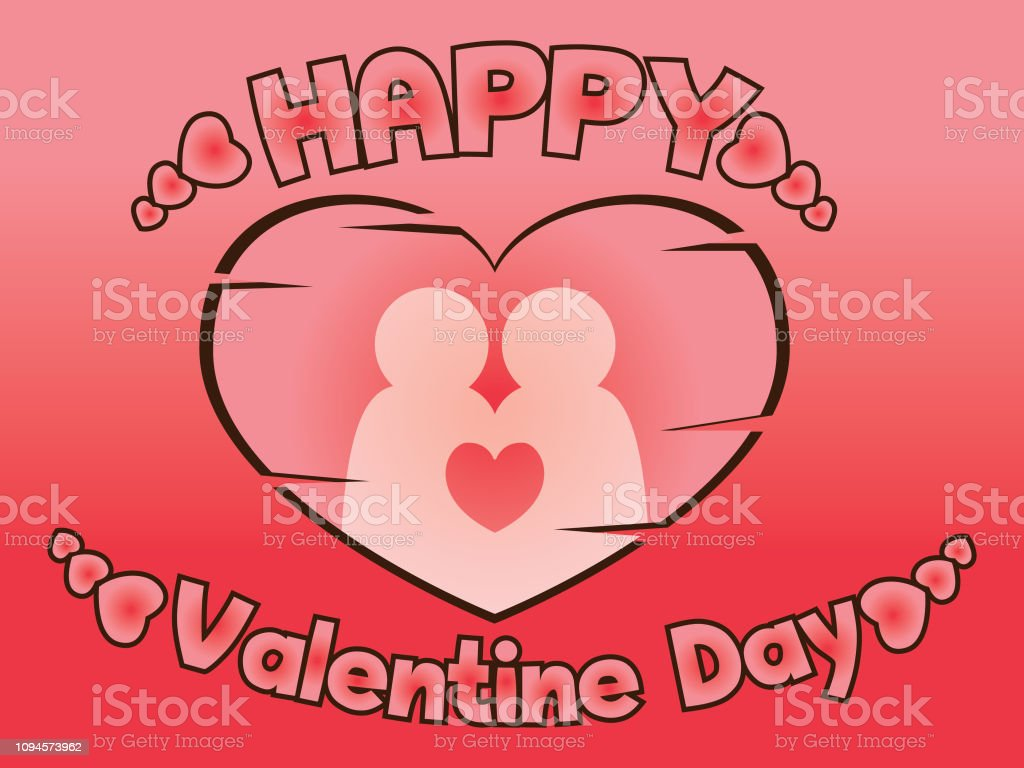 Happy Valentines day one heart two person.