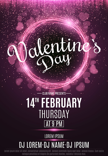 Happy Valentine's Day party flyer. Neon glowing pink banner with flying blurred hearts. Twisted stripes. DJ and club name. Magical falling dust. Vector illustration. EPS 10