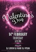 Happy Valentine's Day party flyer. Neon glowing pink banner with flying blurred hearts. Twisted stripes. DJ and club name. Magical falling dust. Vector illustration