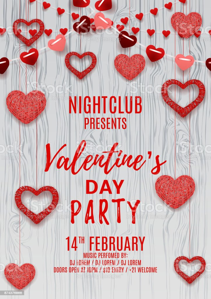 Happy Valentines Day Party Flyer Stock Vector Art More Images Of