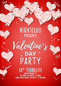 Beautiful Background with Realistic Candy Hearts. Vector Illustration. Invitation to Nightclub.
