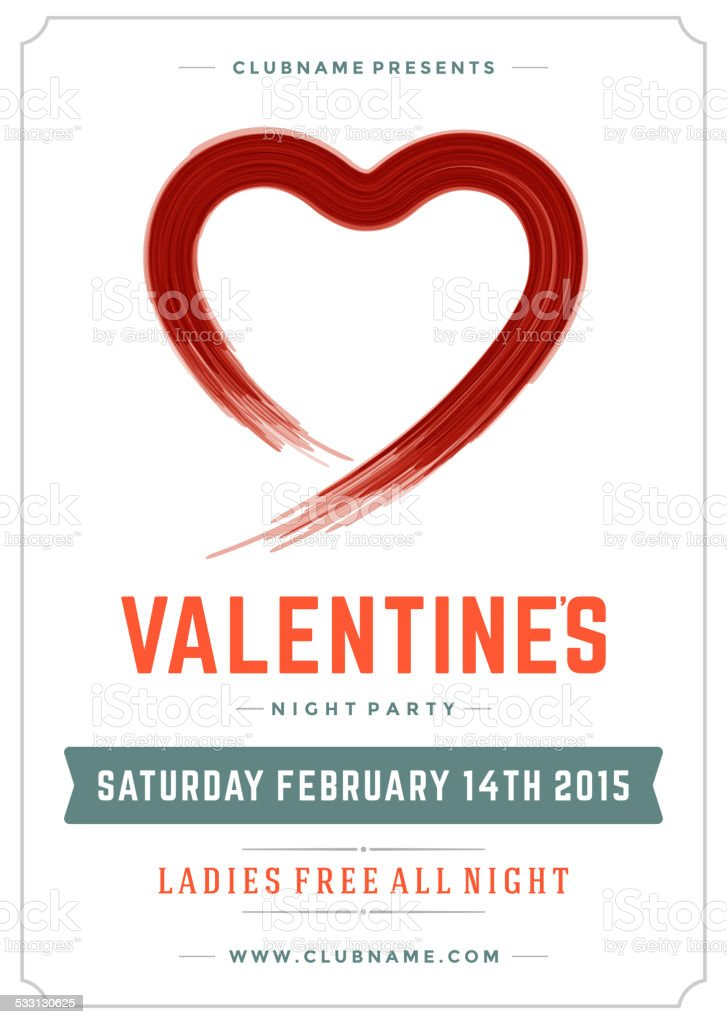 Happy Valentines Day Party Poster Design Template Stock Vector Art ...