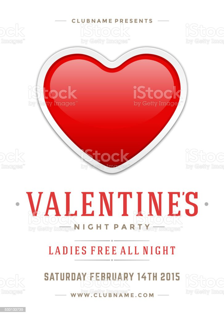 Happy Valentines Day Party Poster Design Template Stock Vector Art
