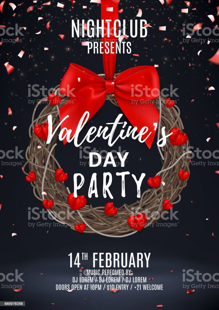 Happy Valentines Day Party Poster Stock Vector Art More Images Of