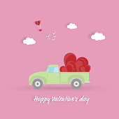 Happy valentines day, Pickup with a heart in valentines background - Vector illustration.