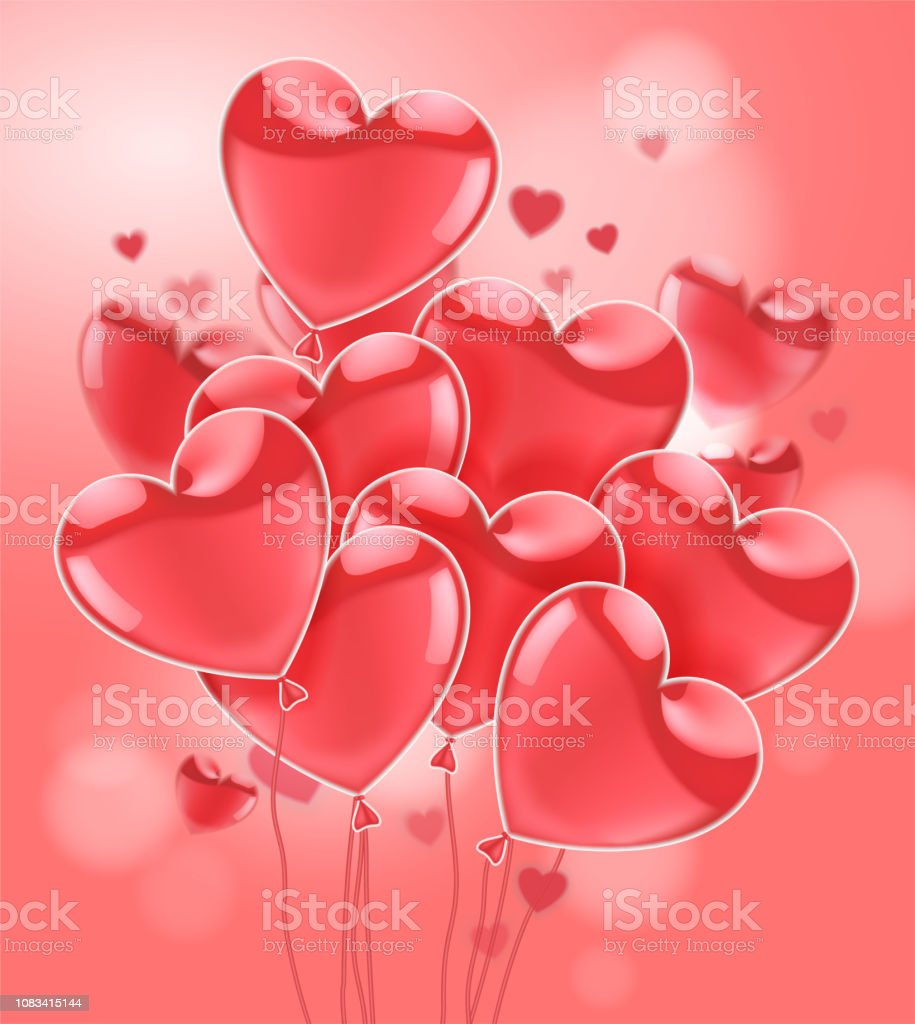 Happy Valentines Day Pink Flying Realistic Glossy Balloons On A Pink