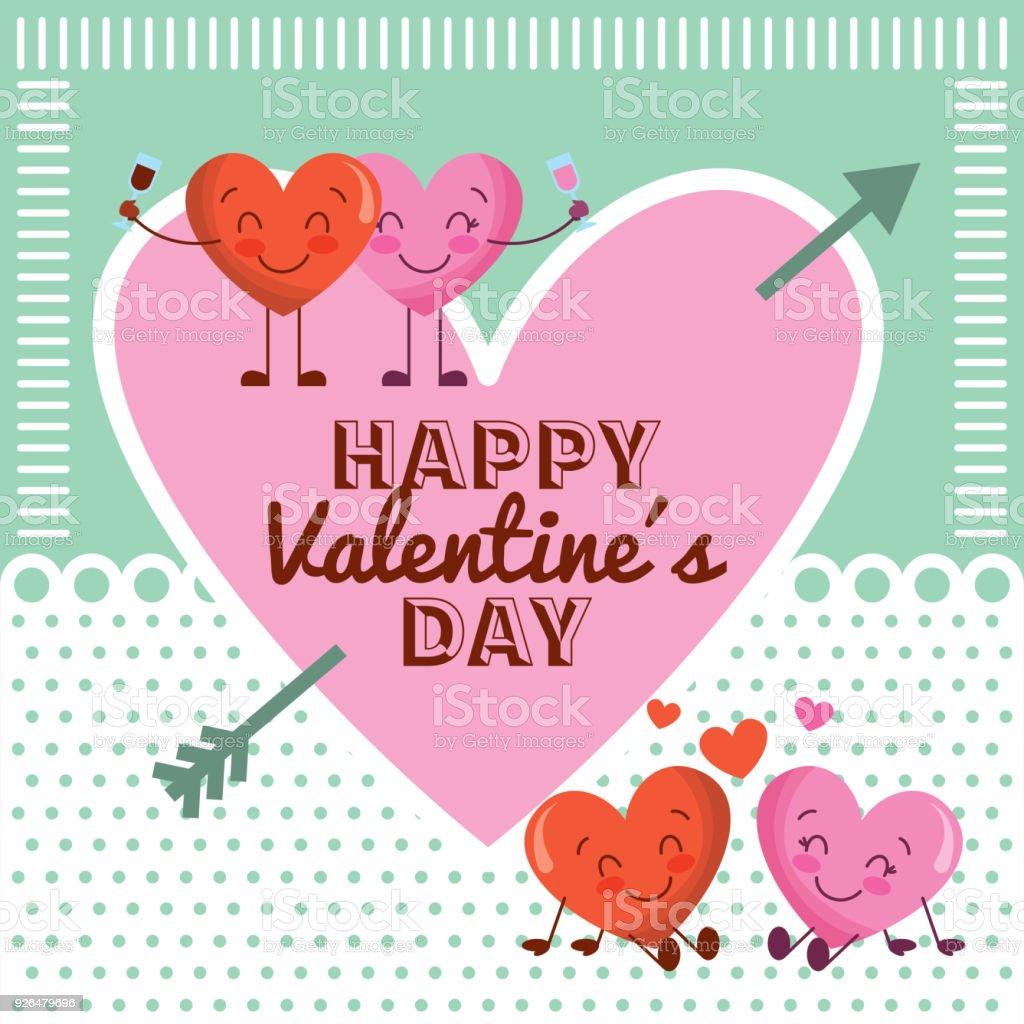 Heureuse Saint Valentin Rose Coeur Et Dessin Anime Couple Coeurs