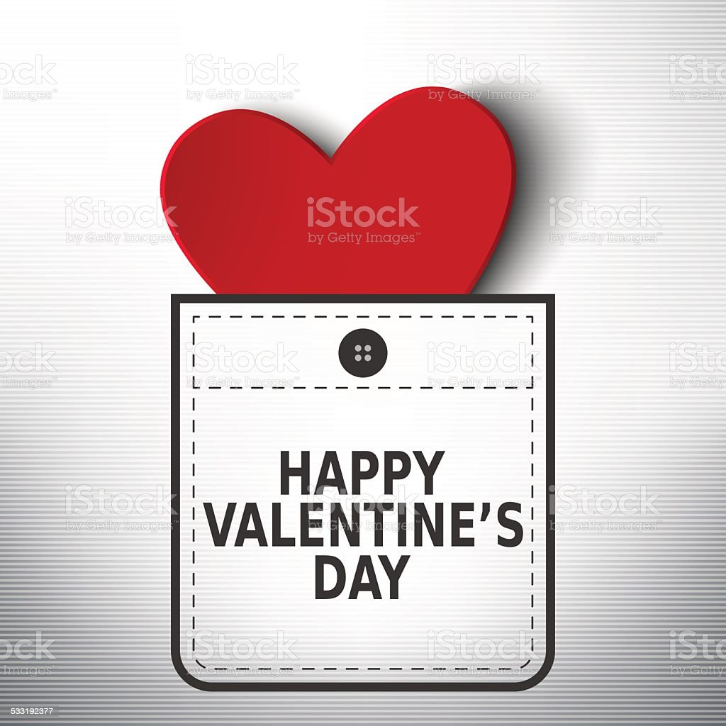 Happy Valentine's day pocket vector design vector art illustration