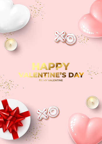 Happy Valentine's Day poster Holiday background with