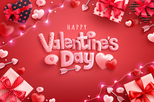 Happy Valentine's Day Poster or banner with sweet hearts and gift box on red background.Promotion and shopping template or background for Love and Valentine's day concept