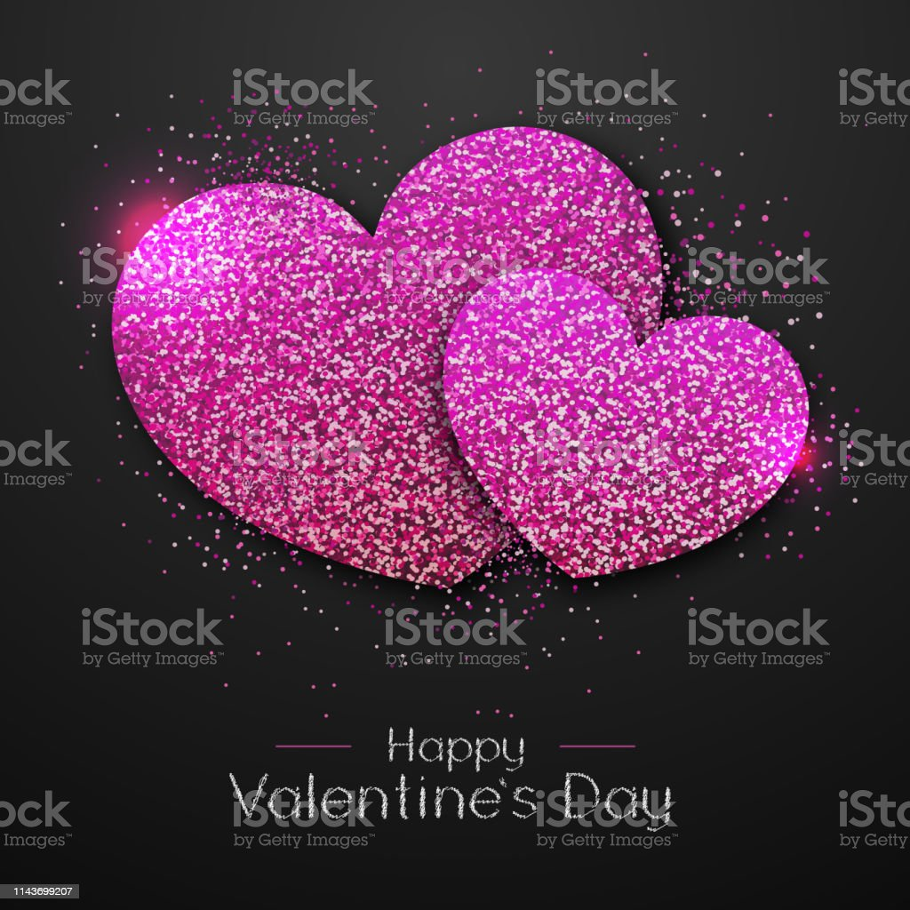 Happy Valentines day poster. Pink sparkle love heart symbol
