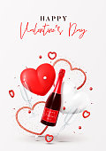 Happy Valentine's Day poster. Vector illustration with champagne bottle, glasses, gift box, air balloons and red hearts on white background. Holiday gift card.
