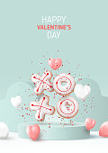 Happy Valentine's Day poster. Holiday background with white and pink hearts, round stage, realistic XO cookies and confetti. Vector illustration with 3d render object.
