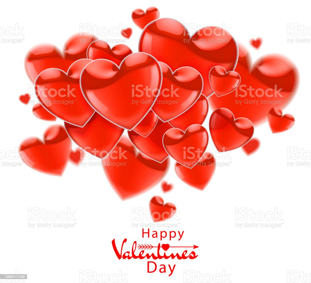 Happy Valentines Day Red Flying Realistic Glossy Balloons On A White
